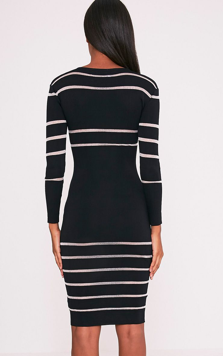 Serene Black Mesh Panel Knitted Midi Dress 2