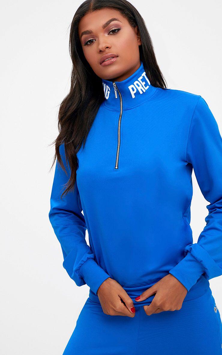 Cobalt PrettyLittleThing Slogan Zip Front Sport Sweater