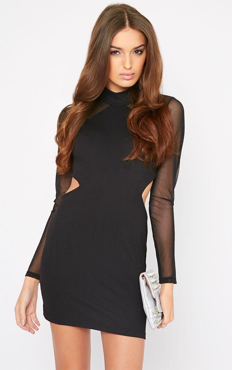 Dree Black Mesh Sleeve Cut Out Turtle Neck Mini Dress 1