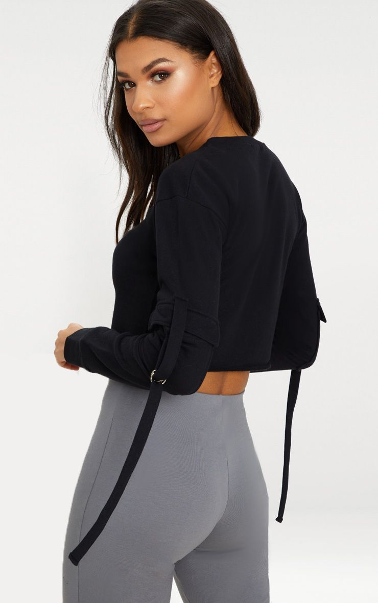 Black Cargo Pocket Oversized Crop Sweater Pretty Little Thing n2F4mcQf