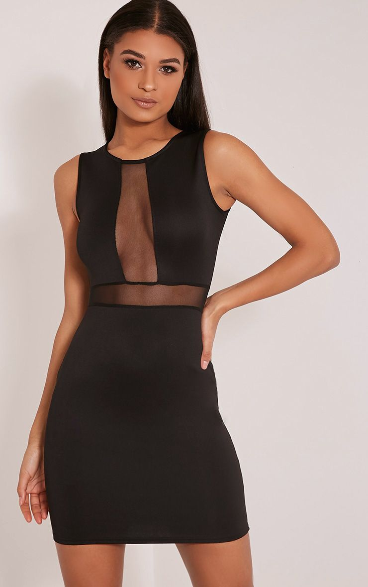 Mollina Black Mesh Panel Sleeveless Bodycon Dress 1