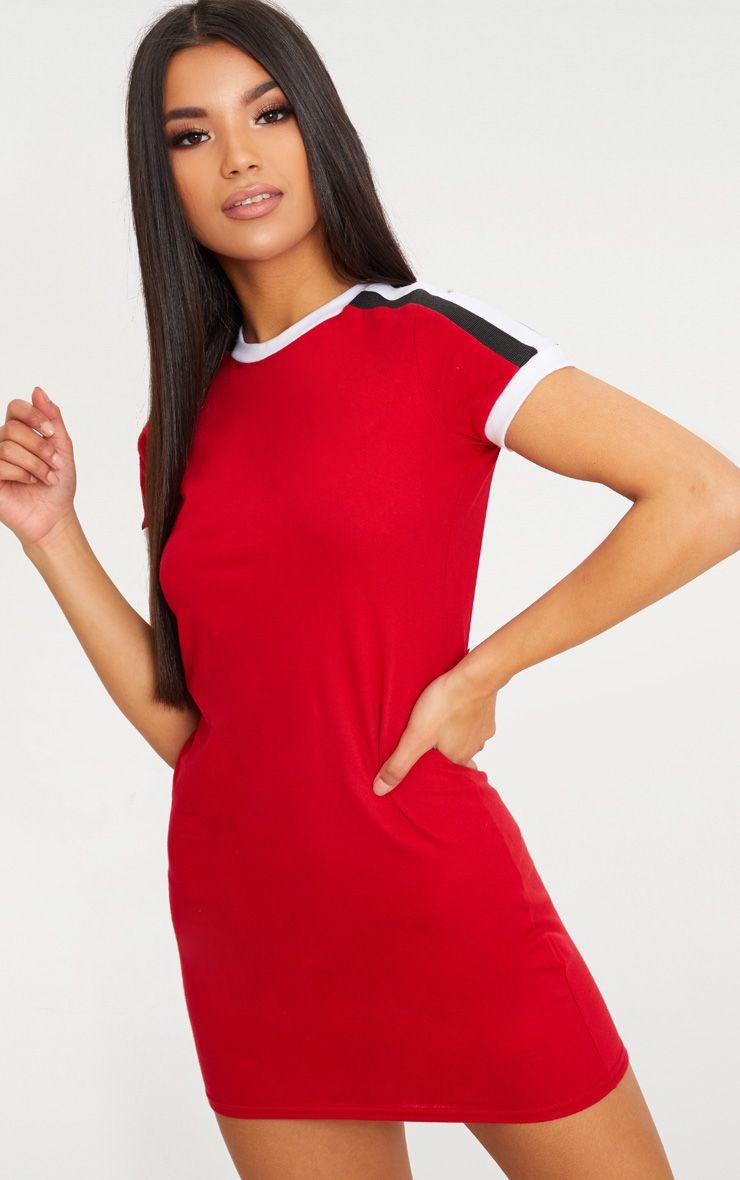 Red Triple Stripe Shoulder T Shirt Dress
