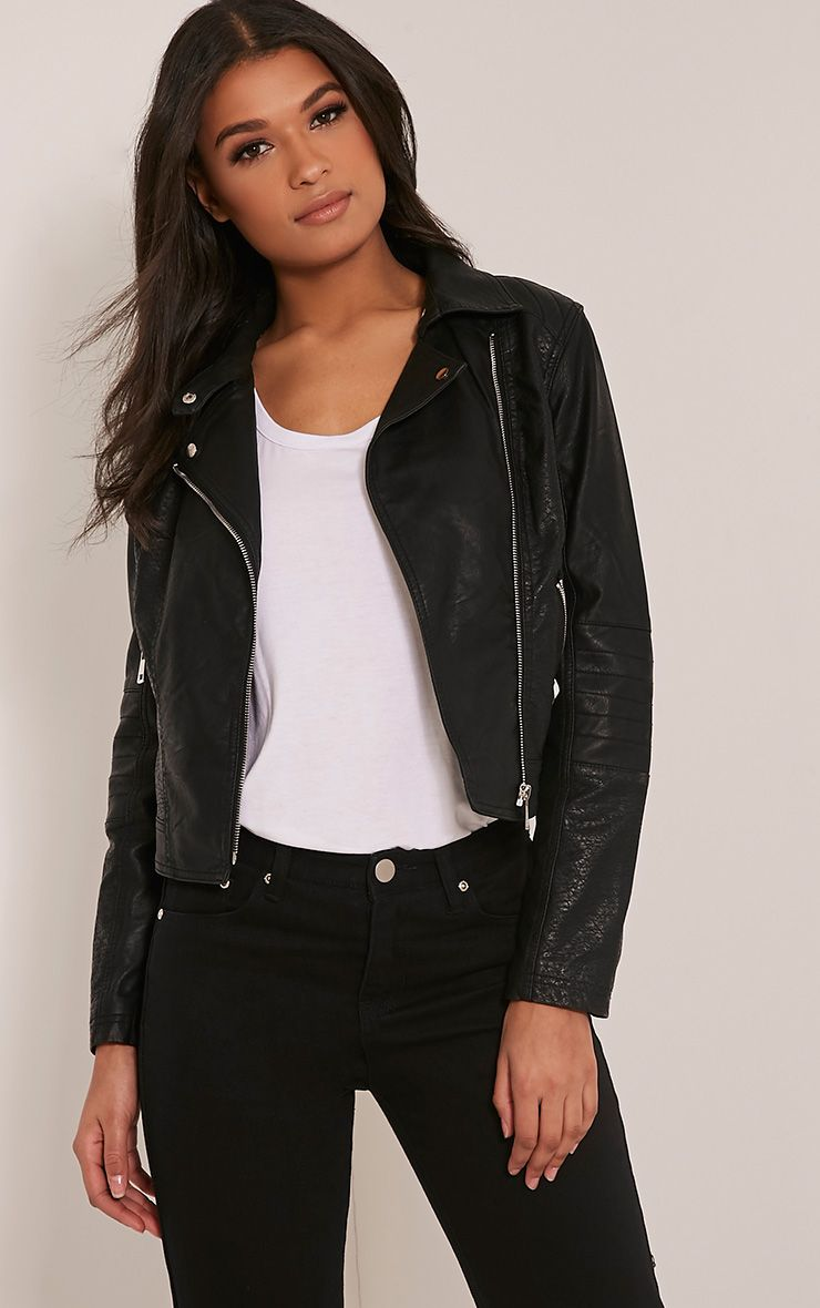 Annie Black PU Textured Biker Jacket 1