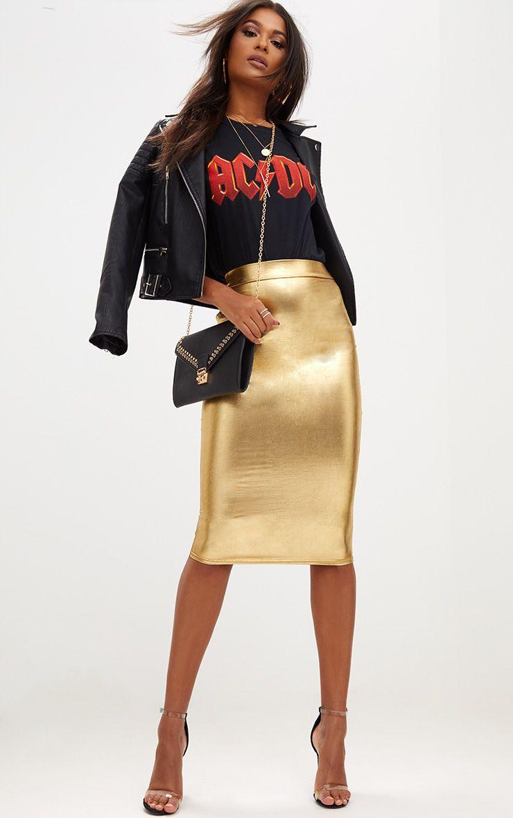 Gold Metallic Midi Skirt 1