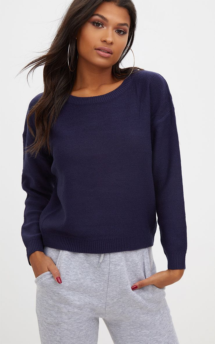 Navy Boxy Basic Jumper