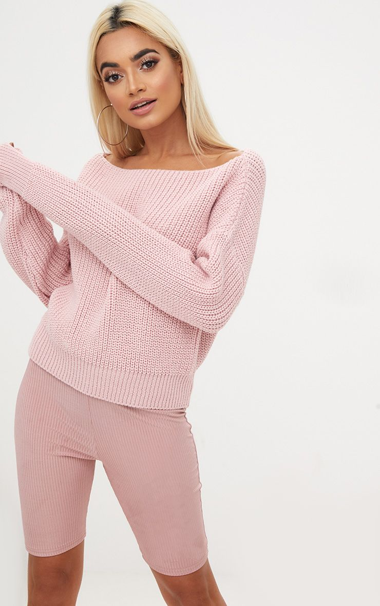 Dusty Pink Slash Neck Crop Jumper