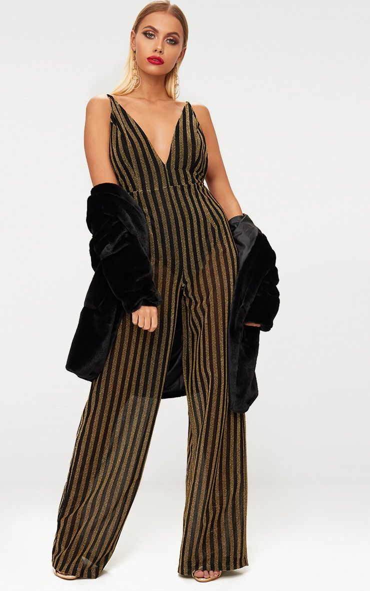Gold Striped Plunge Jumpsuit
