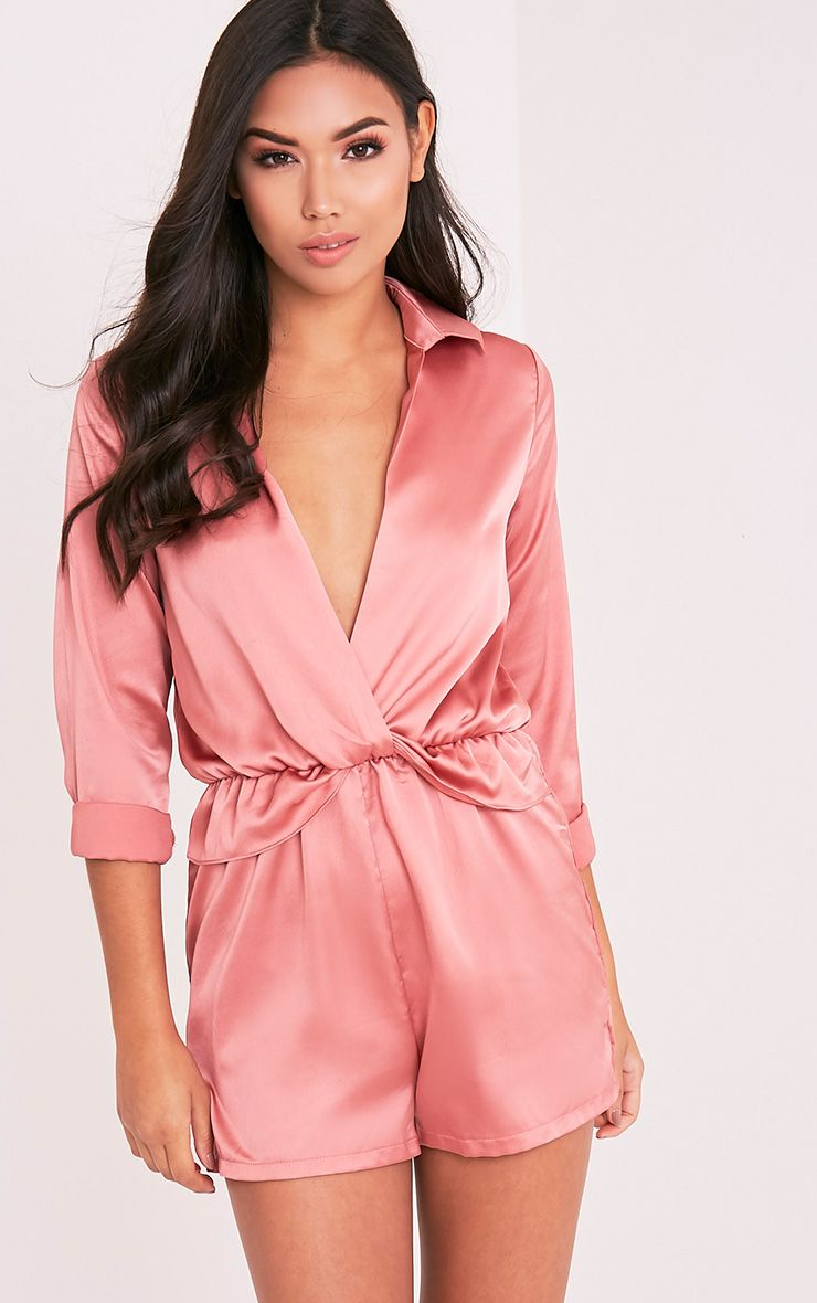 Anora Rose Satin Plunge Playsuit