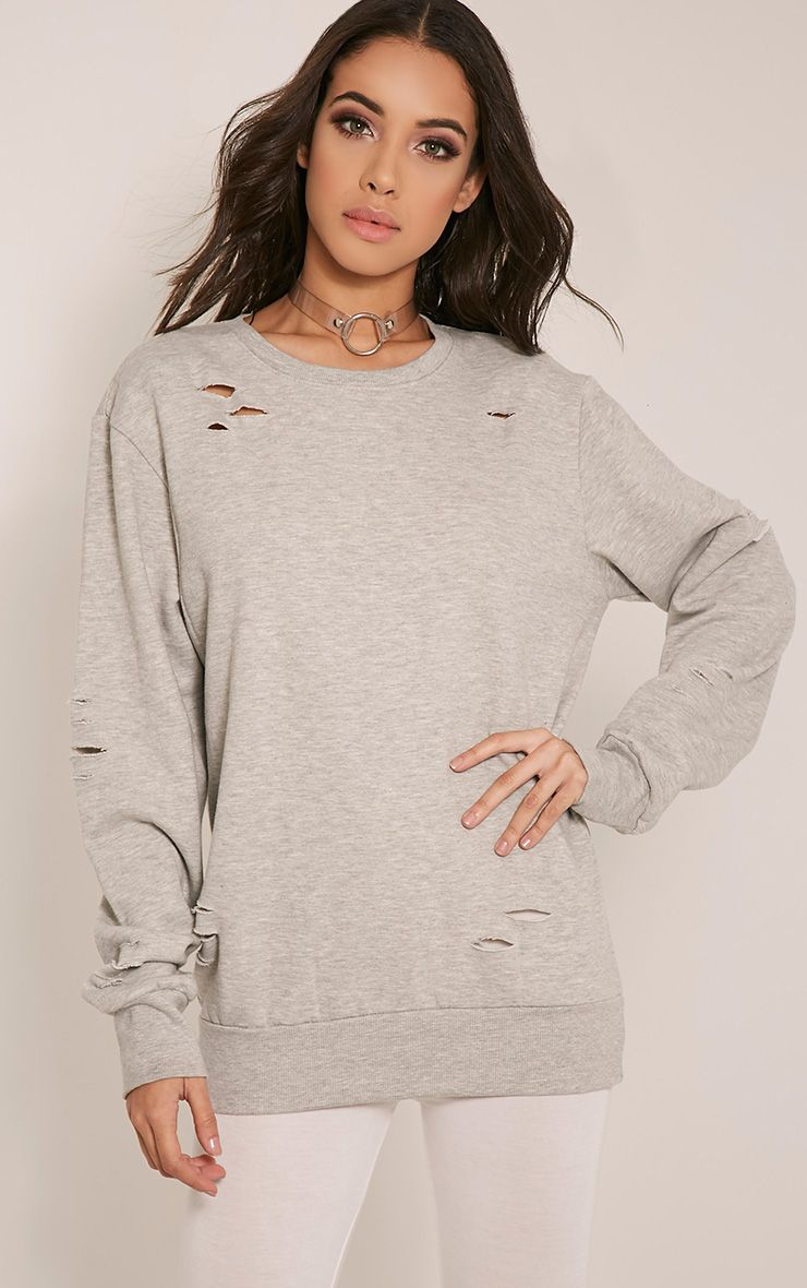 Jadey Grey Ripped Oversized Sweatshirt 1