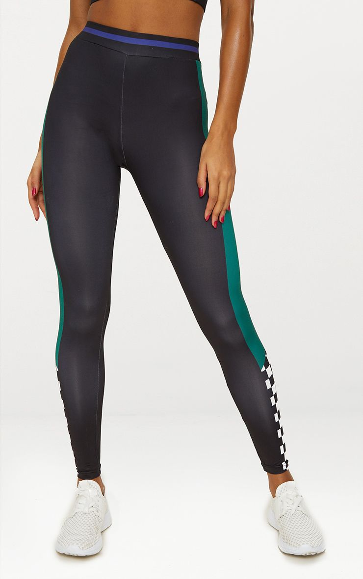 Black Motor Cross Sports Leggings