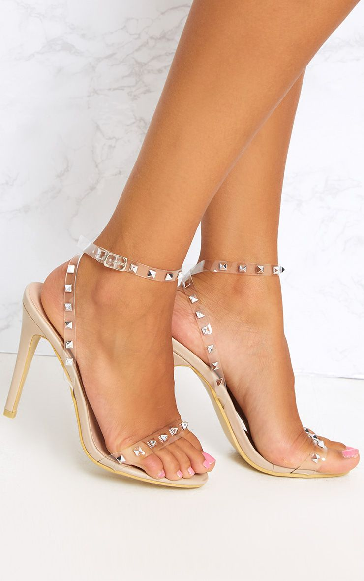 Nude Clear Strap Studded Strappy Heels