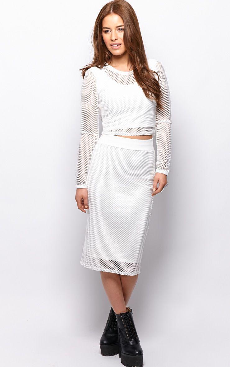Eleanor White Fishnet Midi Skirt 1