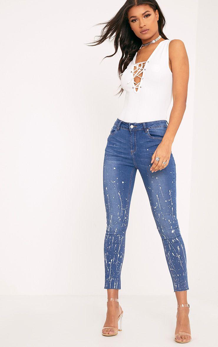 Fion Blue Bleach Splatter Skinny Jean