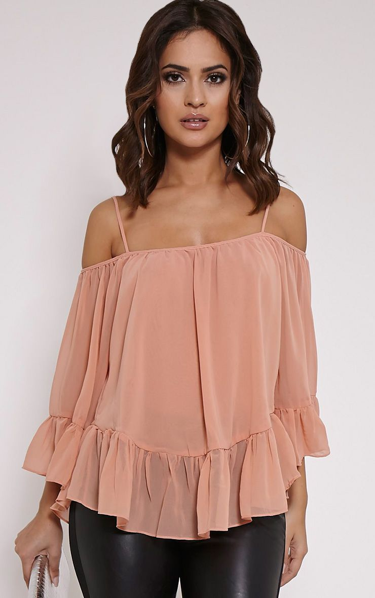 Kiana Nude Cold Shoulder Chiffon Top 1