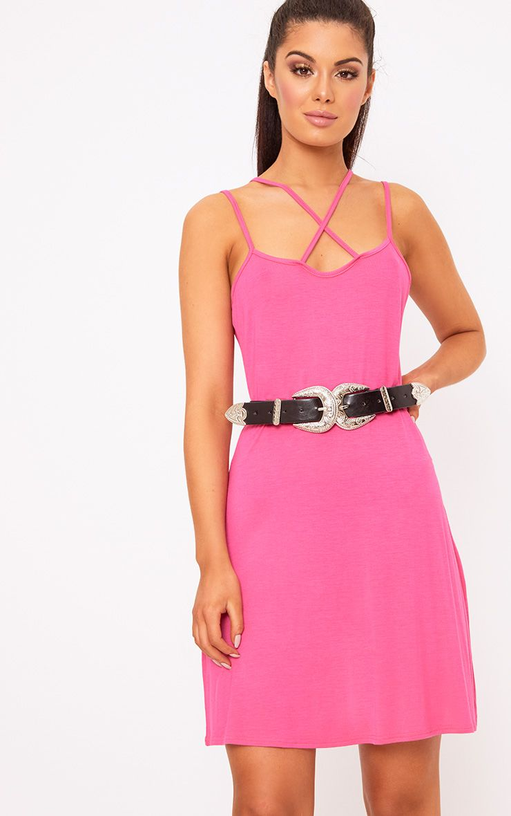 Fuchsia Jersey Cross Front Swing Dress