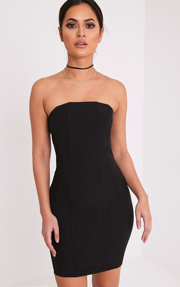 Kimberley Black Boned Bandeau Bodycon Dress