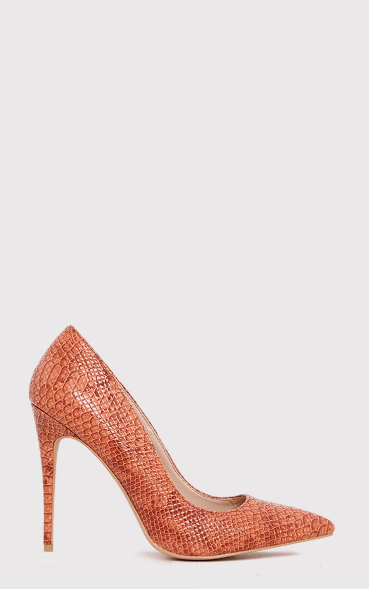 Ellia Deep Peach Faux Snake Skin Pointed Heels