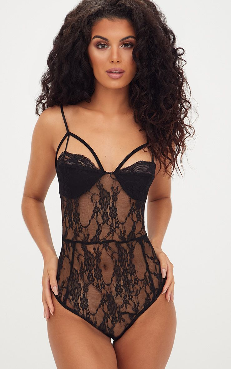 Black Strappy Cupped Lace Bodysuit