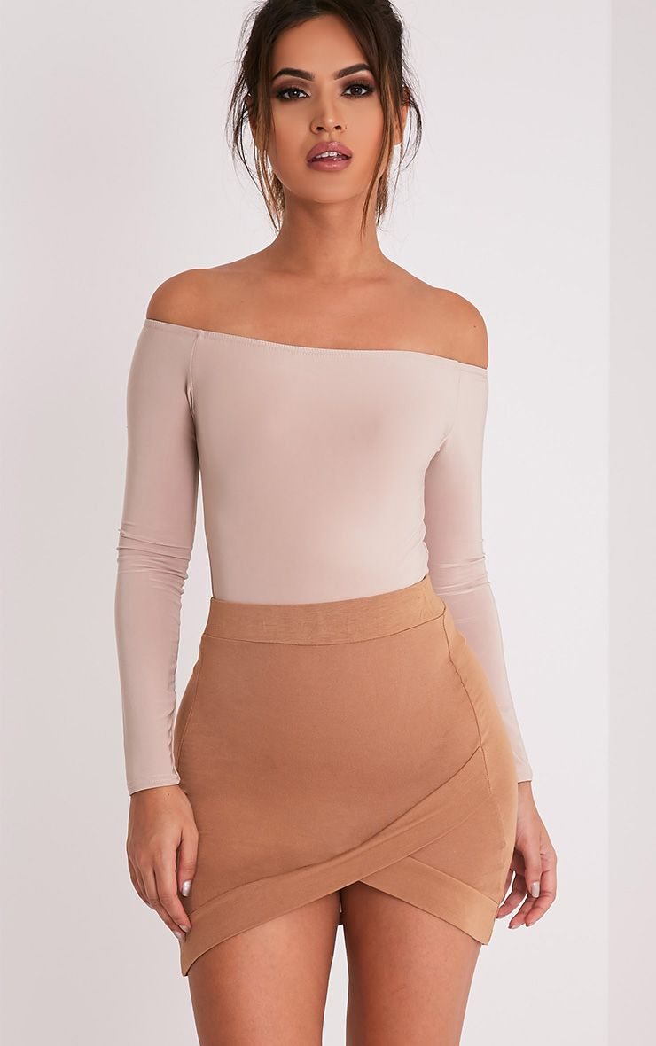 Basic Camel Asymmetric Mini Skirt