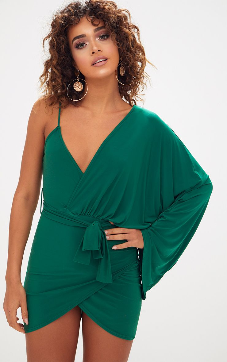 Emerald Green One Strap Kimono Sleeve Mini Dress