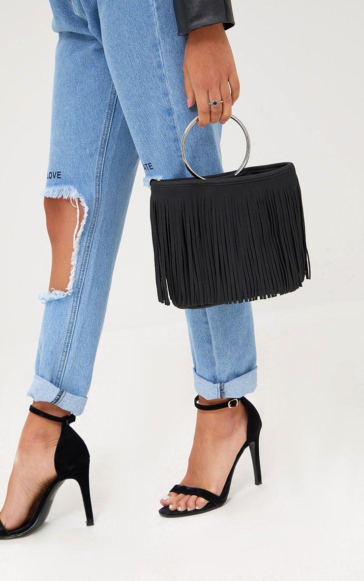 Black Fringed Hoop Handle Bag