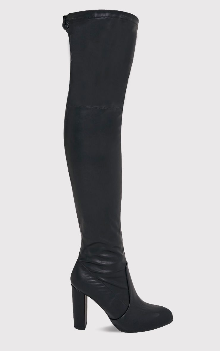 Bess Black Faux Leather Heeled Thigh Boots
