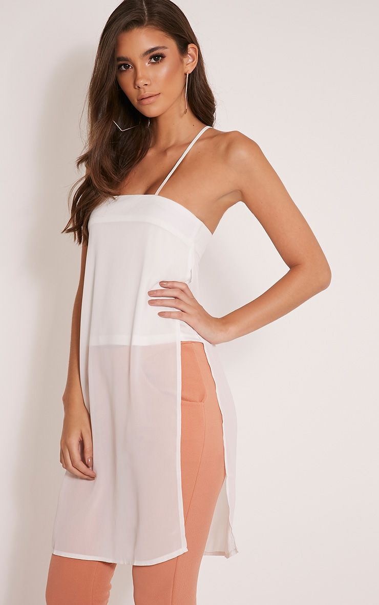 Runa Cream Sheer Longline Cami Top