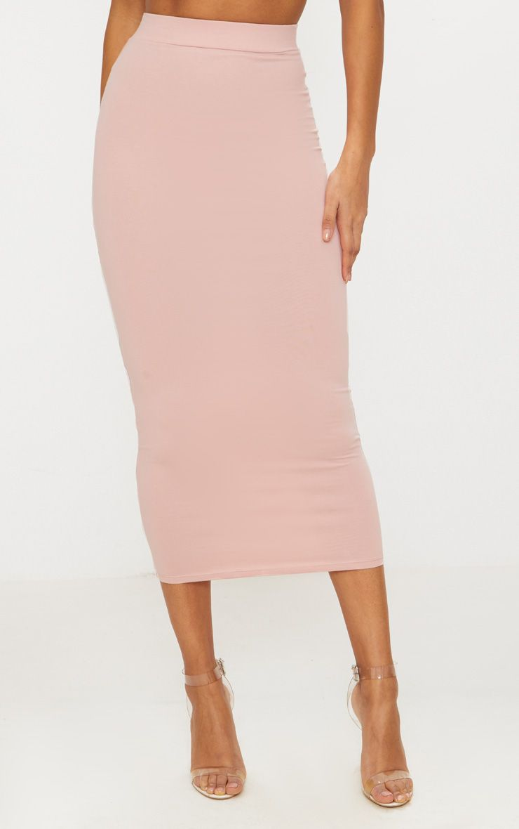 ROSE SECOND SKIN BODYCON MIDAXI SKIRT