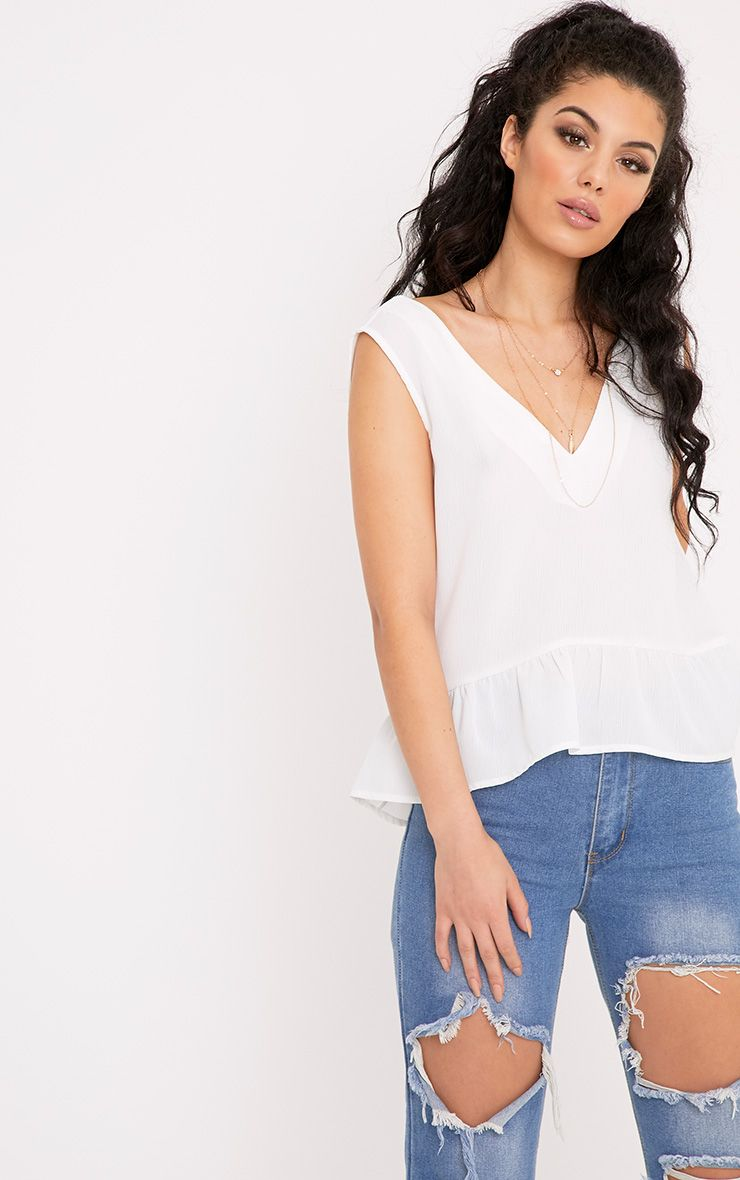 Angelina Cream Woven V Back Plunge Frill Blouse