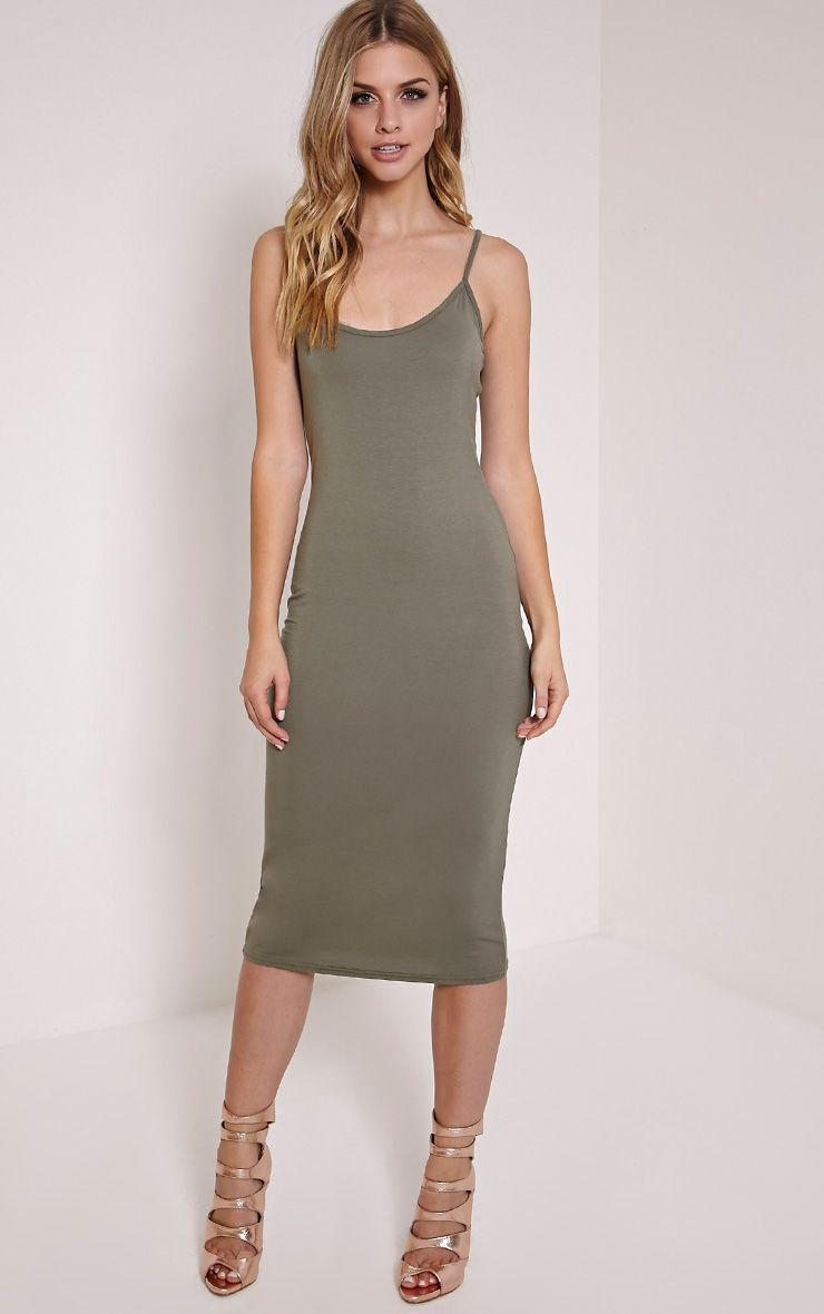 Basic Khaki Midi Vest Dress