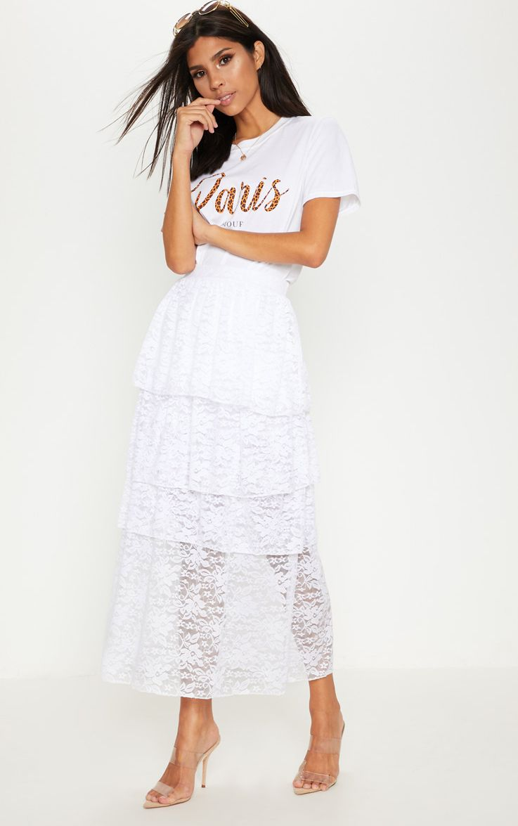 White Lace Tiered Maxi Skirt