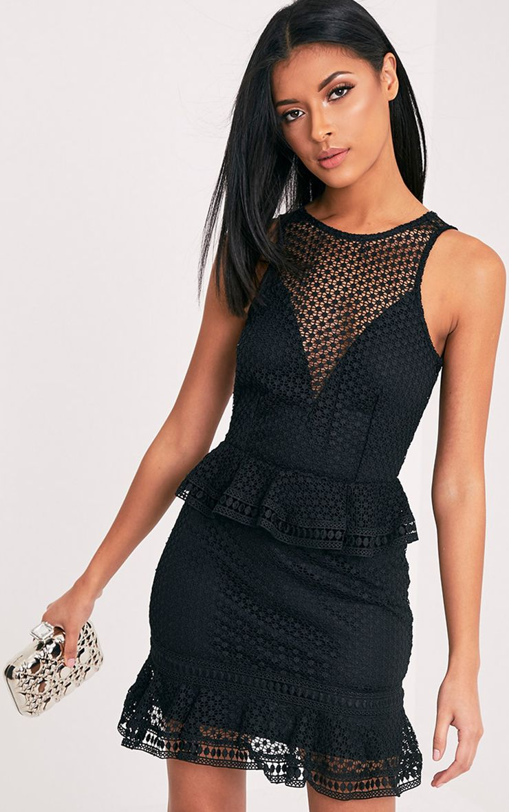 Verity Black Sleeveless Lace Tiered Bodycon Dress