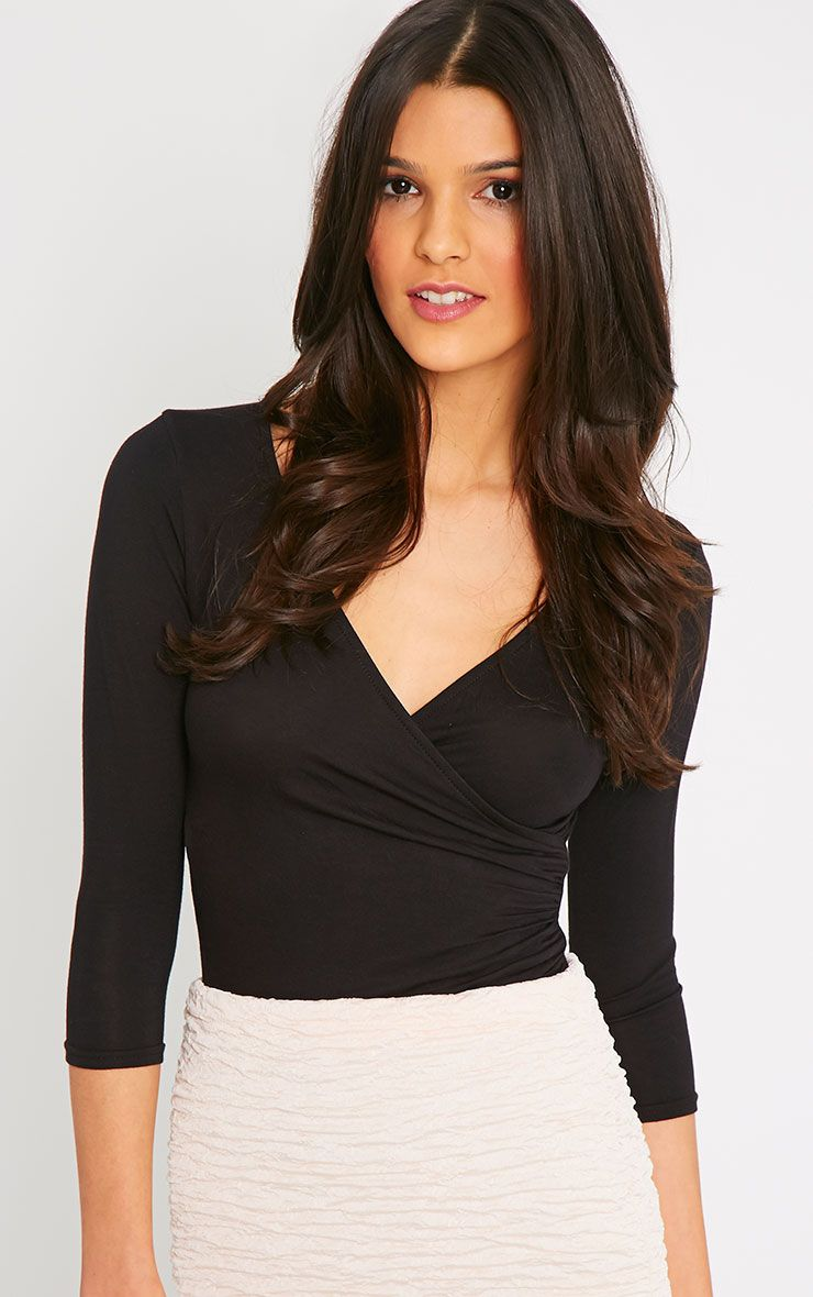 Naila Black Wrap Over Top  1