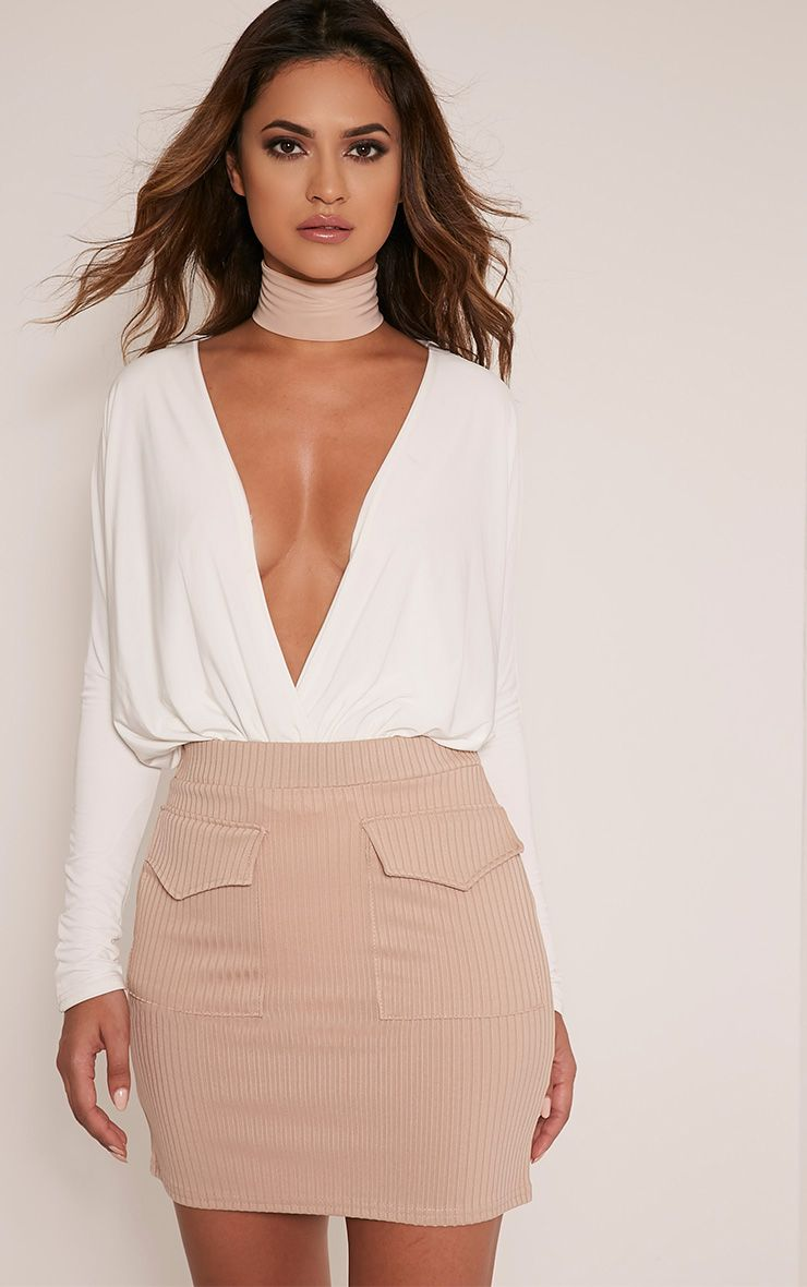 Esta Stone Pocket Ribbed Mini Skirt