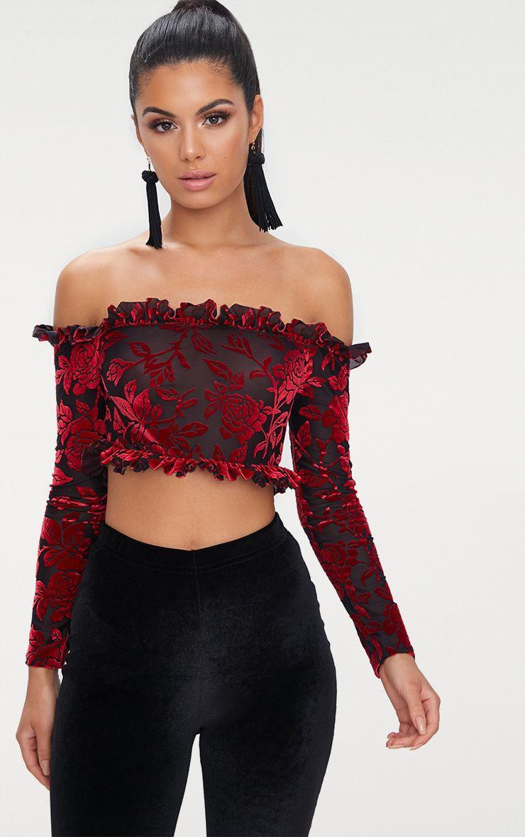 Red Velvet Flock Bardot Longsleeve Crop Top