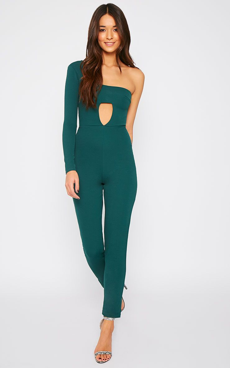 Cindy Bottle Green Cut Out One Shoulder Jumpsuit 1