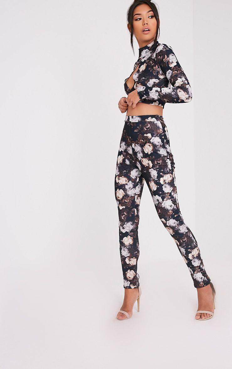 Calissa Black Floral Crepe Cigarette Trousers 1
