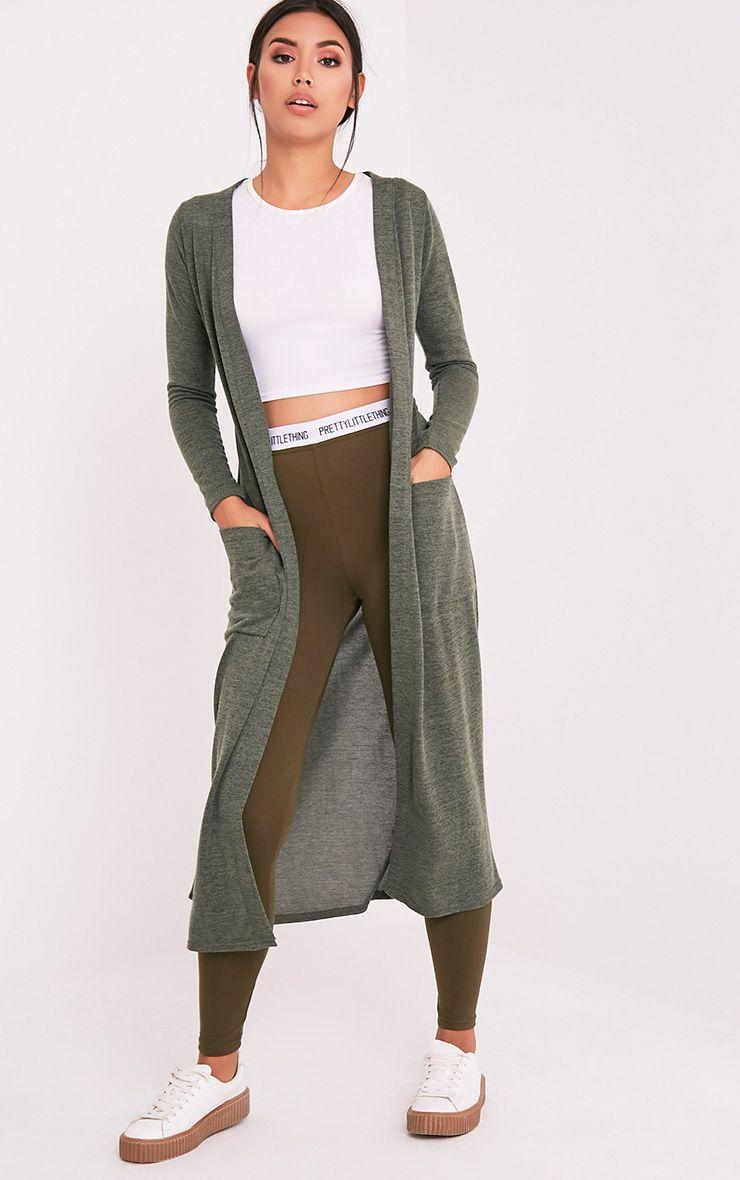 Liona Khaki Belted maxi cardigan