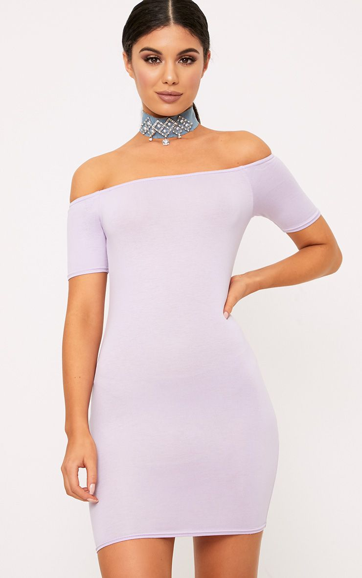 Lilac Basic Short Sleeve Bardot Bodycon Dress