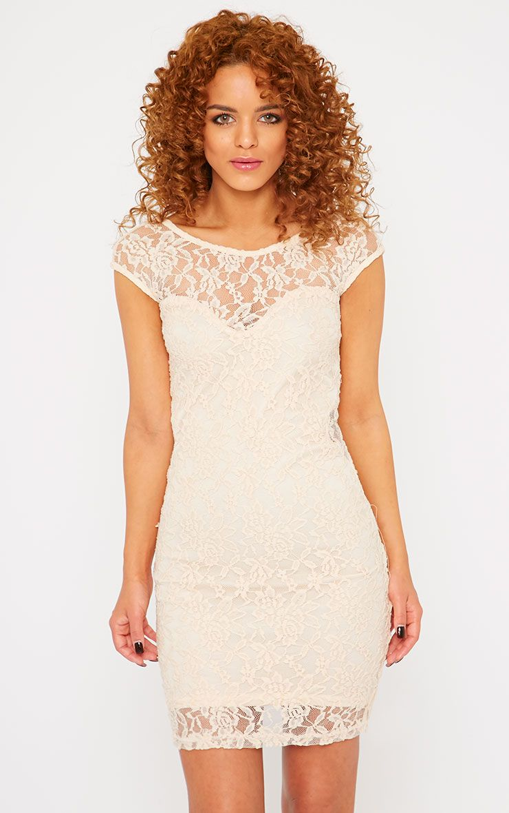 Jaycee Nude Lace Mini Dress 1
