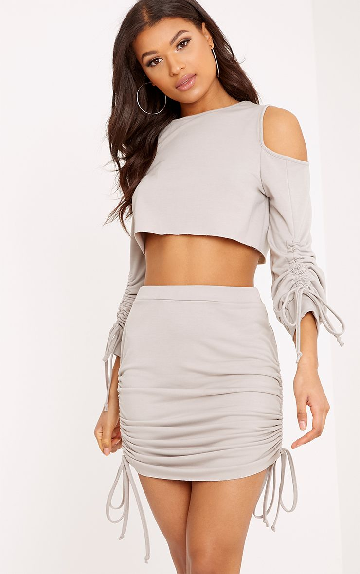 Achala Grey Ruched Cold Shoulder Sweater