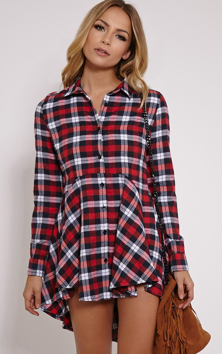 Bobbi Red Checked Skater Shirt Dress 1