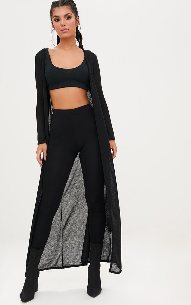 Black Lightweight Knit Longline Cardigan
