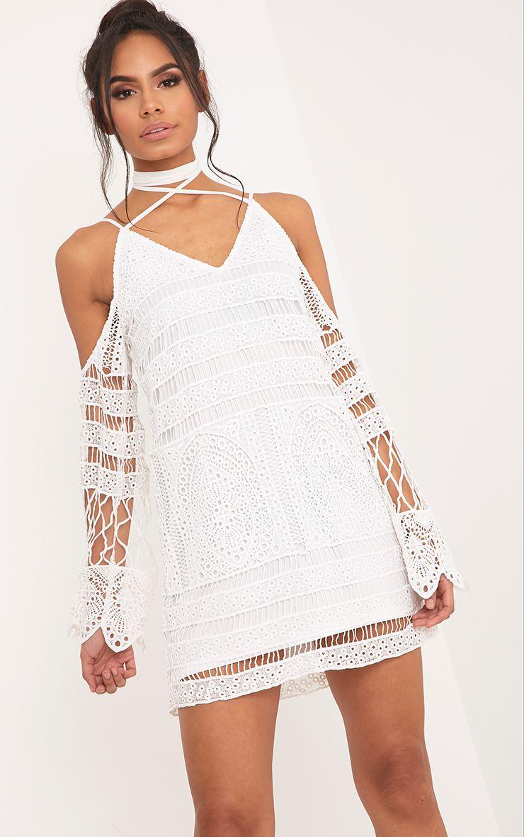 Nina White Lace Cold Shoulder Tie Neck Shift Dress