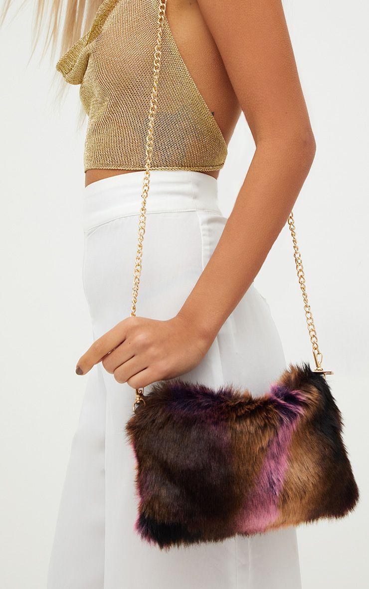 Multi Pink Faux Fur Shoulder Bag 1