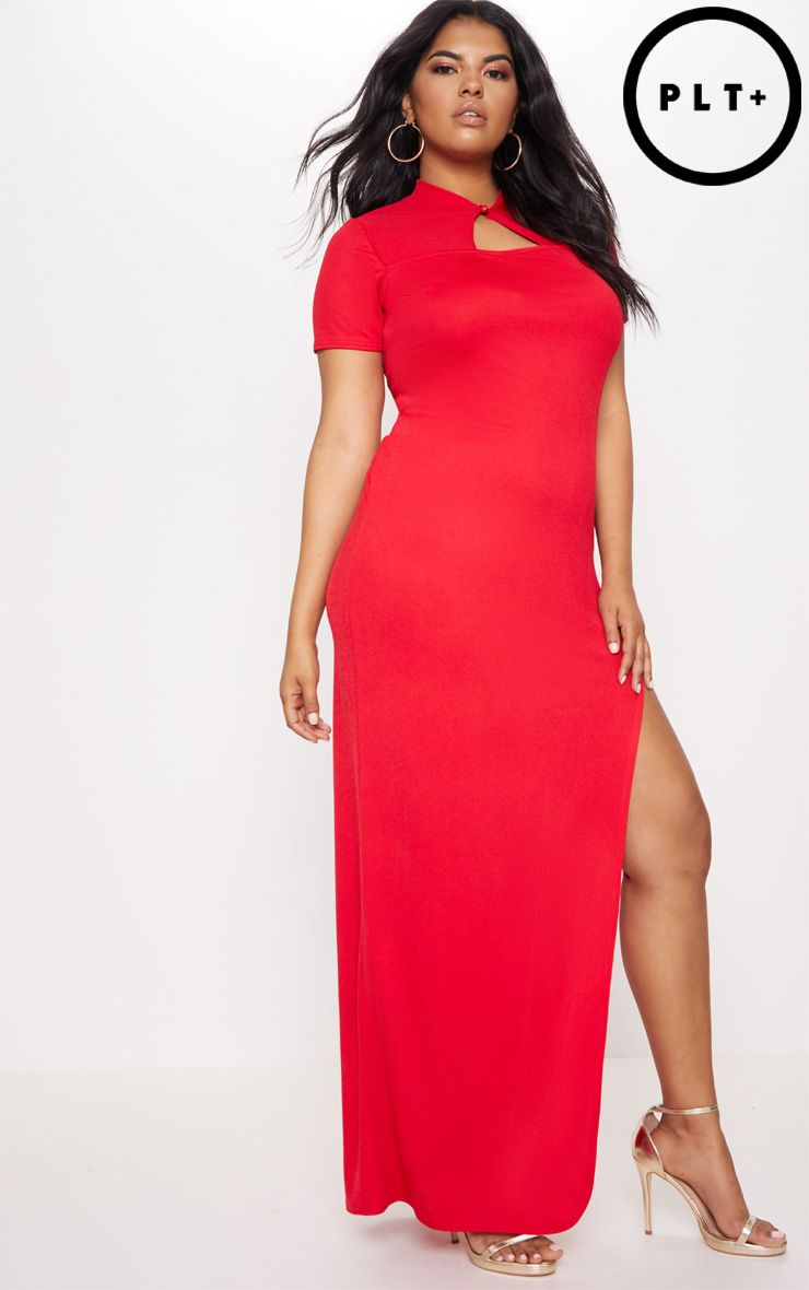 Plus Red Oriental Cut Out Detail Maxi Dress
