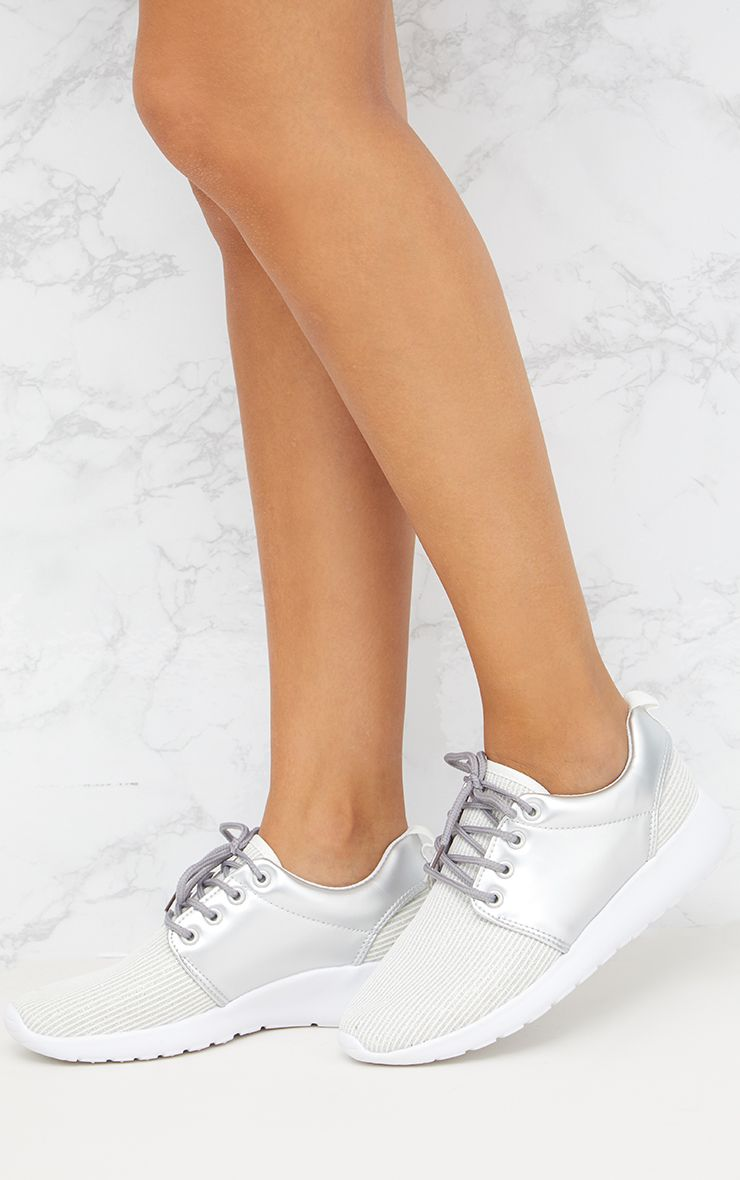 Silver Metallic Ribbed Trainers