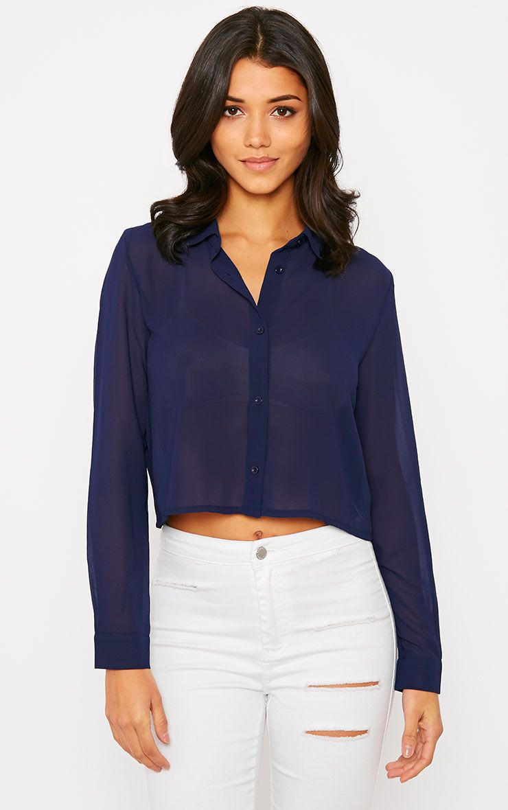 Libby Navy Cropped Shirt 1