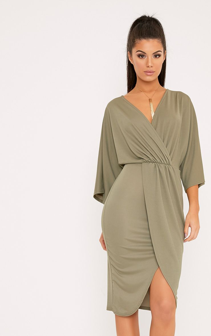 Archer Khaki Cape Midi Dress