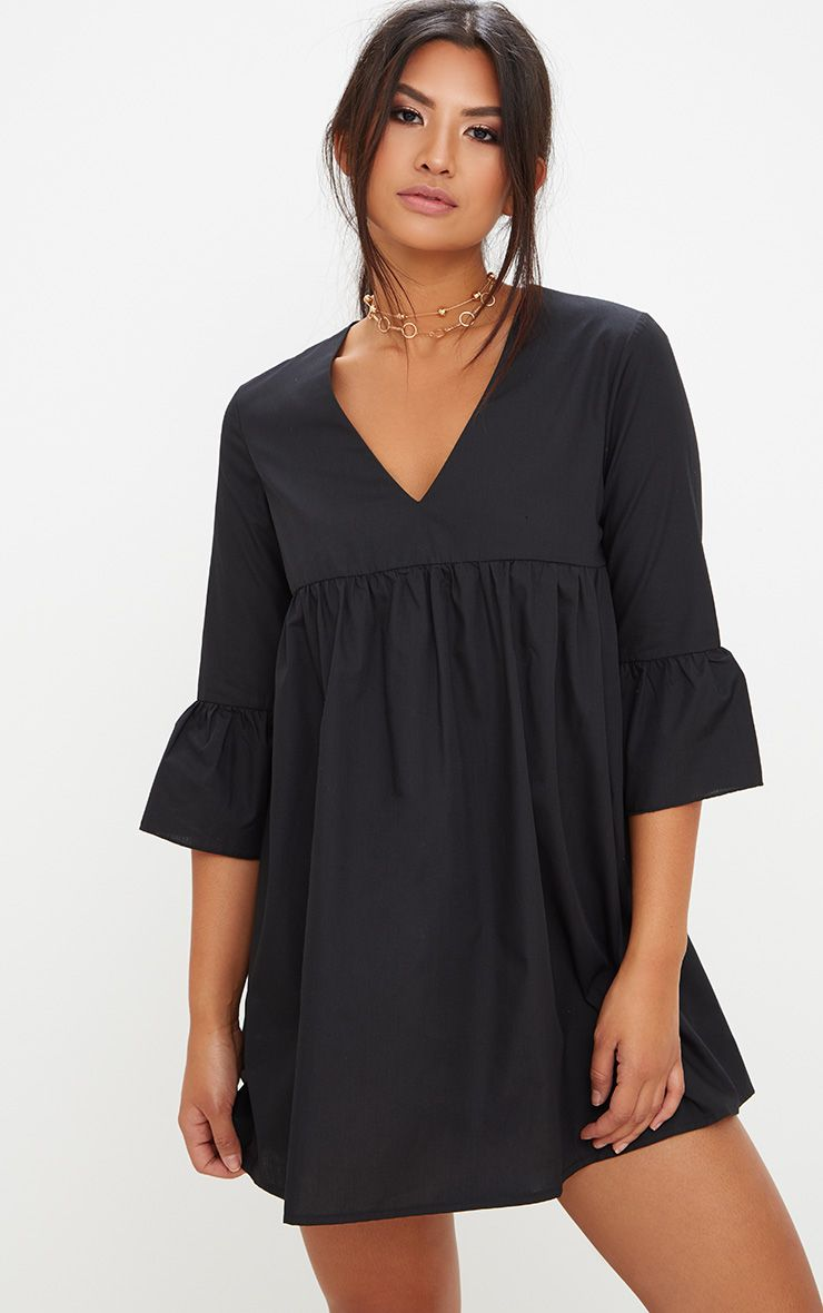 Black 3/4 Sleeve Smock Dress